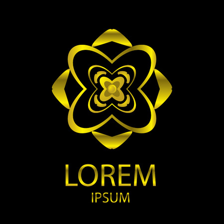 cosmetician: The Abstract of Golden flower  shape icon, Vector