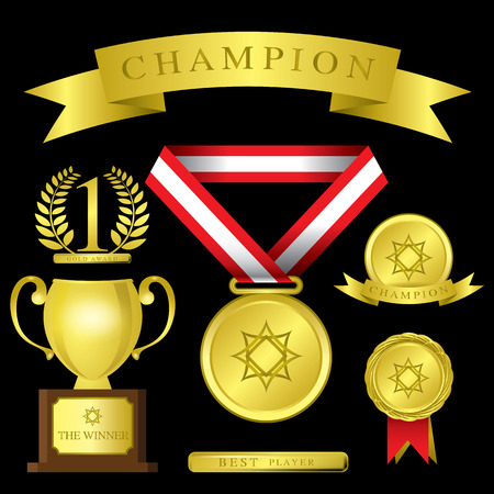 The Abstract of Awards icon set vector