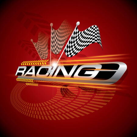 The Abstract of Racing with Checkered Flags Concept Vector Vector