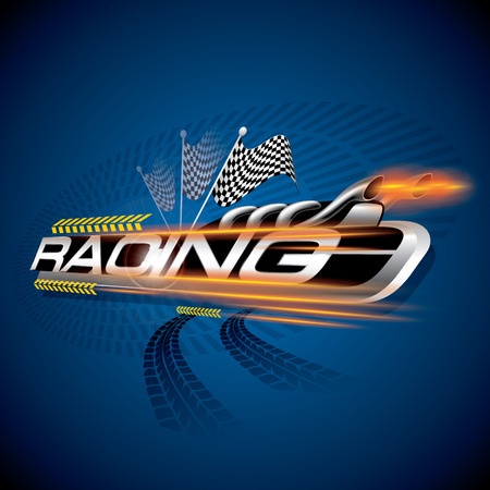 car race: The Abstract of Racing with Checkered Flags Concept Vector