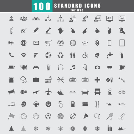 100 Universal Standard Icons vector Vector
