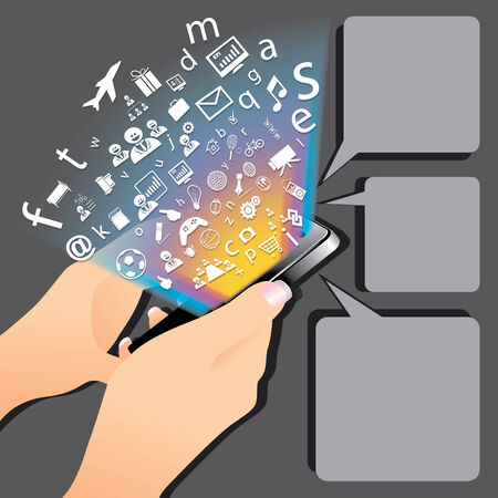 The abstract of smartphone play application concept  Vector