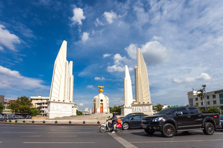 Bangkok - September 23, Traffic jam around Democracy Monument in during the day, (To date, not a political rally) good weather, September 23, 2014 in Bangkok.