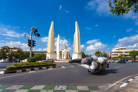 Bangkok - September 23, Traffic around Democracy Monument. Junkyard man on 3 wheel motor vehicles (Traditional way of life Also found in bangkok), September 23, 2014 in Bangkok.