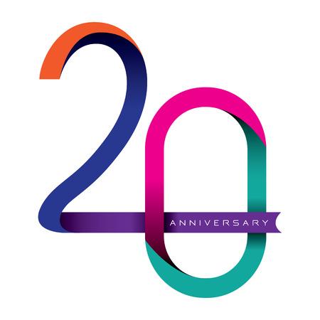 wedding anniversary: 20 years anniversary vector