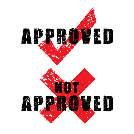 approved: stamp approved and not approved with black text isolated on white background