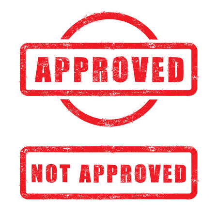 stamp approved and not approved with red text isolated on white background Vector