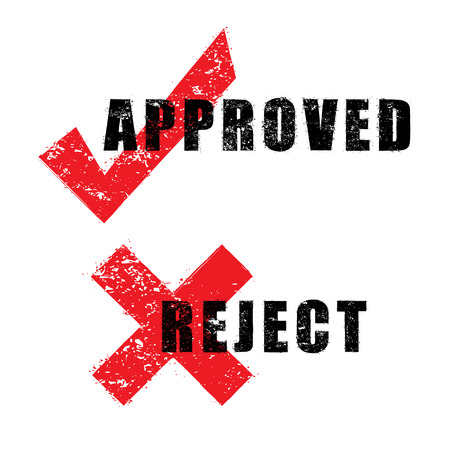 stamp approved and reject with black text isolated on white background Vector