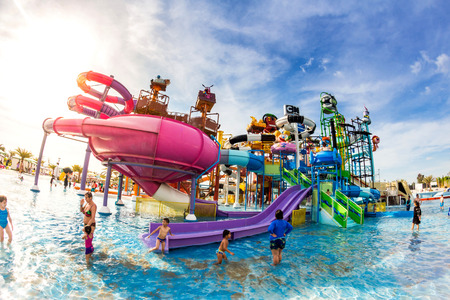 PATTAYA, THAILAND - December 29, 2014: Many traveler have fun in Cartoon Network Amazone Water Park, New Destination of Activity on December 29, 2014 in Pattaya Thailand.