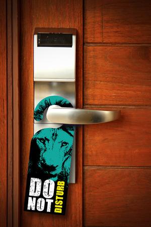 cardkey: Do not disturb sign hang on door knob Stock Photo