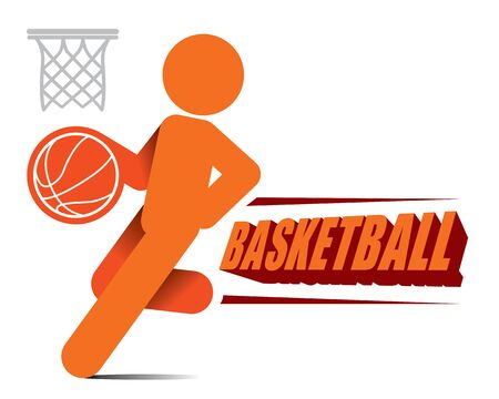 determined: Action Basketball Player Icon for logo design Vector Illustration