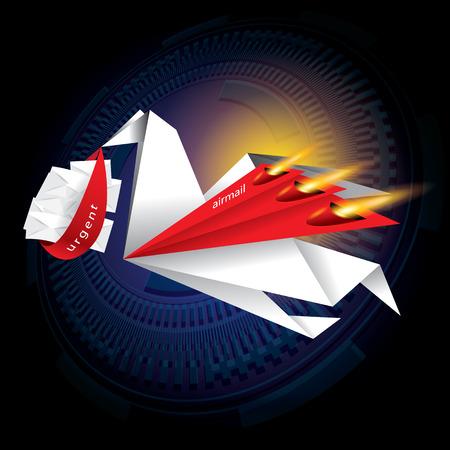 The abstract of origami bird concept vector