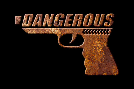 oxidate: Dangerous gun concept isolated on black background