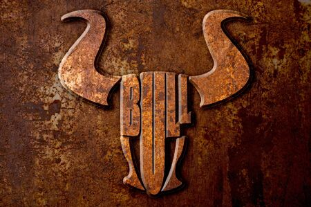 oxidate: Bull sign concept on metal rust background Stock Photo