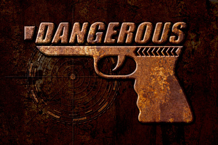 oxidate: Dangerous gun concept on metal rust background
