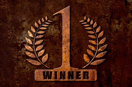ganador: N�mero 1 ganador concepto en fondo del metal del moho