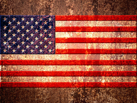 oxidate: USA, united states of america flag on the metal rust background