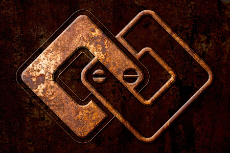 oxidate: Infinity sign on the metal rust background