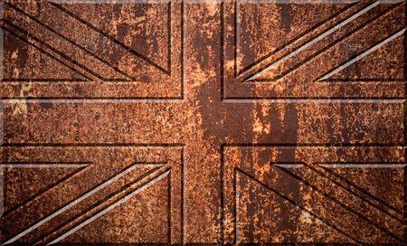 oxidate: United Kingdom UK flag on the metal rust background