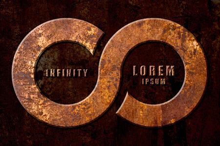 reverberation: Infinity sign on the metal rust background