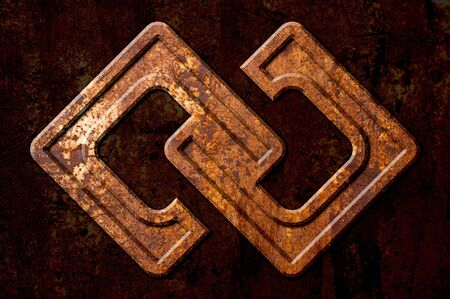 segno infinito: Infinity sign on the metal rust background