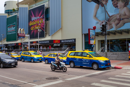 departmentstore: PATTAYA THAILAND  MAY 2 : taxi on the street in front of The Royal Grand Plaza Departmentstore Pattaya. on May 2 2015 Pattaya Thailand