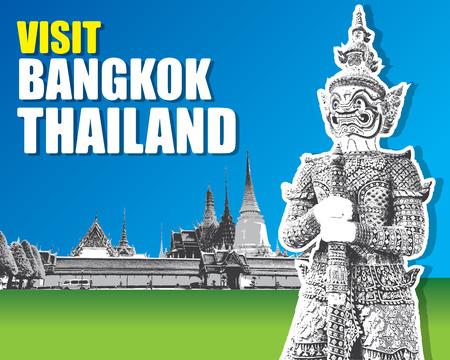 palace: Demon Guardian Wat Phra Kaew Grand Palace Bangkok Thailand vector