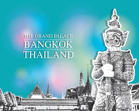 demonio: Demon Guardián Wat Phra Kaew Gran Palacio de Bangkok Tailandia vectorial