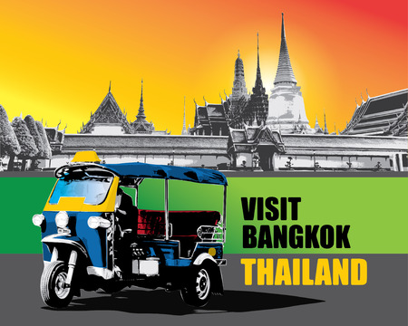 thailand view: Thai vehicle Tuk Tuk in Bangkok of Thailand vector