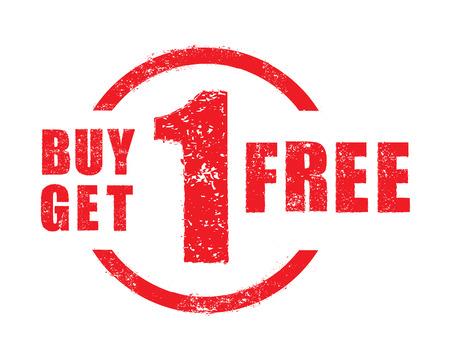 1: Buy 1 get 1 free rubber stamp, vector Illustration