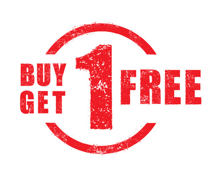 Buy 1 get 1 free rubber stamp, vector Illustration