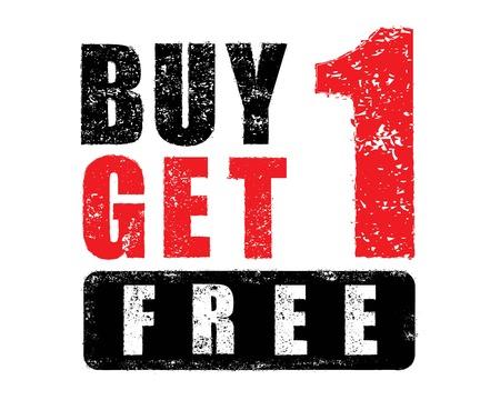 ベクトル、1 get 1 無料ゴム印を購入します。  イラスト・ベクター素材