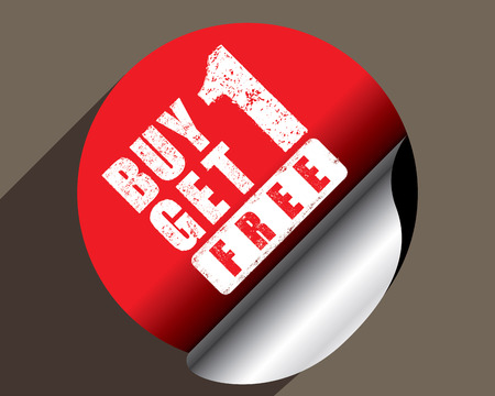 advertised: Buy 1 get 1 free rubber stamp, vector Illustration