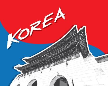 korea: Gyeongbokgung Palace in Seoul, South Korea, vector