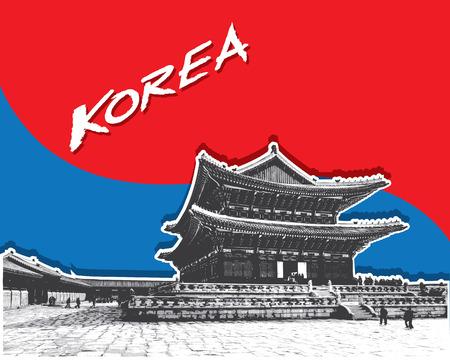 Gyeongbokgung Palace en Seúl, Corea del Sur, vector