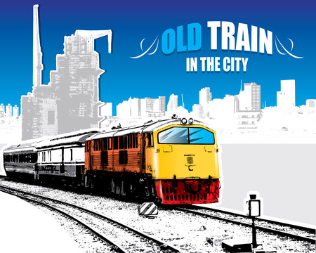 old train: old train on a rail road in the city. Vector illustration