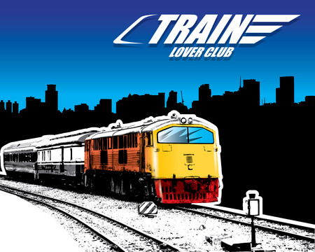 outdoor goods: old train on a rail road in the city. Vector illustration
