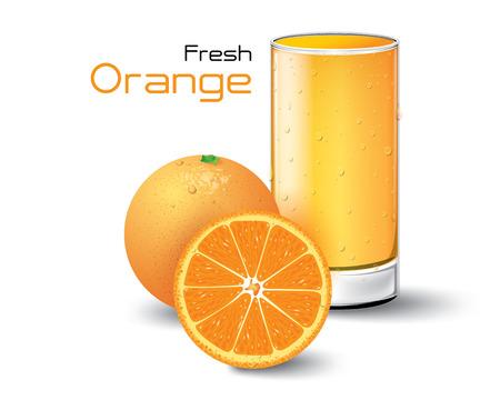 orange juice glass: Glass of Fresh Orange Juice. Vector Illustration