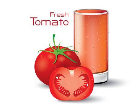 tomato juice: Glass of Fresh Tomato Juice. Vector