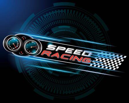 bandera carreras: Carreras de velocidad con el concepto de indicador de velocidad del vector