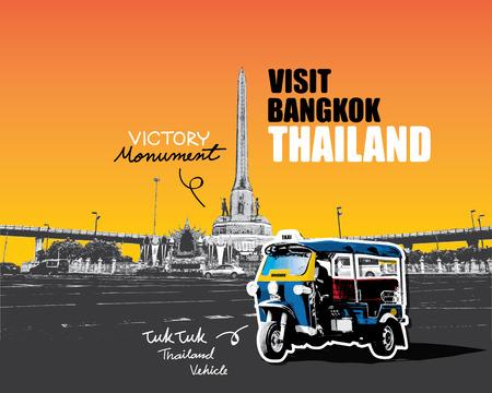tuk: TUK TUK vehicle in front of Victory monument Bangkok Thailand. vector Illustration