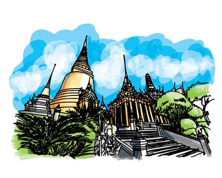shire: Grand Palace - Wat Phra Kaew, Bangkok Thailand,  Hand-Drawn