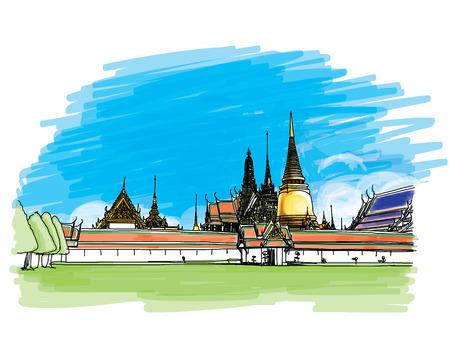 Grand Palace - Wat Phra Kaew, Bangkok in Thailandia, Hand-Drawn Archivio Fotografico - 43895846