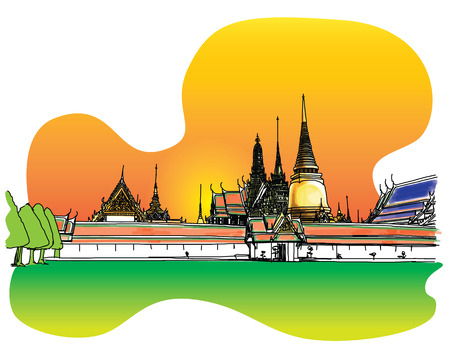 Grand Palace - Wat Phra Kaew, Bangkok Thailand, Hand-Drawn