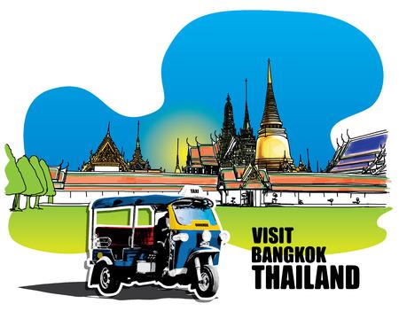 southeastern asia: Tuk Tuk in front of  Grand Palace - Wat Phra Kaew, Bangkok Thailand,  Hand-Drawn Illustration