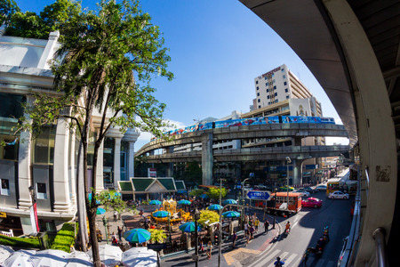 phrom: BANGKOK,THAILAND - JULE 9: Fisheye view of Erawan shrine, Many tourists coming to worship and pray, Erawan shrine which tourism famous attraction at Ratchaprasong Junction Thailand on June 9, 2015 Editorial