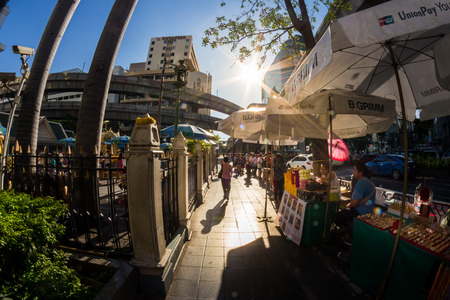 aisles: BANGKOK,THAILAND - JULE 9: Fisheye view with flare, Side aisles of Erawan shrine, Erawan shrine which tourism famous attraction iat Ratchaprasong Junction Thailand on June 9, 2015.