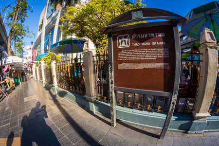 aisles: BANGKOK, THAILAND - JUNE 9:  Fisheye view with flare, Information board for Erawan shrine at Ratchaprasong Junction Thailand on June 9, 2015.