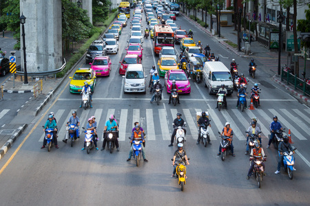 BANGKOK, THAILAND - JUNE 9: Traffic jam on Ratchaprasong road. the center of economic and modern tourism of Thailand on June 9, 2015. Editorial