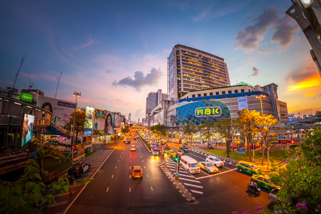 BANGKOK, THAILAND - NOVEMBER 19:  Fisheye view, MBK Center is a big shopping mall more than shops, restaurants, IT product, mobile phone, and service outlets in twilight of Bangkok, Thailand on November 19, 2015. 新闻类图片